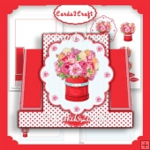 Flower vase in the middle stepper card set