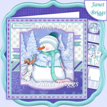 SNOWMAN & FOREST FRIENDS 7.5 Christmas Decoupage & Insert Kit