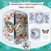 Rambling Roses 3 Panel Gatefold Card Kit - Happy Anniversary