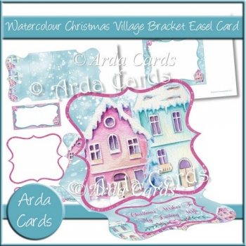 Watercolour Christmas Village Bracket Easel Card with Pyramage