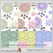 9 Gypsy Floral Backing Papers in A4 format