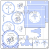 Boys Christening Plate Stand and Box