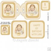 Watercolour Baby 1st Birthday Cup Card