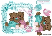 Cute twin bears in a turq frill frame with bows 8x8