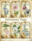 Botanical Collage Inventory Tags Set for Journals, Cards, Crafts