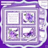 LILAC ROSES BUTTERFLIES & VERSE SQUARES 7.5 Quick Layer Card
