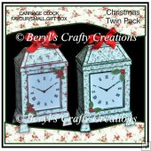 Carriage Clock Favour/Small Gift Box - Christmas Twin Pack