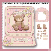 Patchwork Bear Large Rounded Easel Card Kit