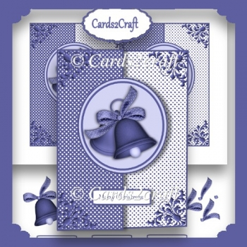 Blue Christmas bells foldback card