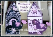 Birdhouse Shaped Candy Gift Boxes Set with Decoupage