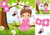 cute little faerie in pink sitting on a branch with bee 8x8