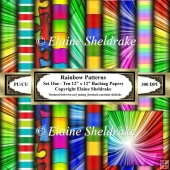 Rainbow Patterns - Set One - Ten 12 x 12 Sheets Of Backing Paper