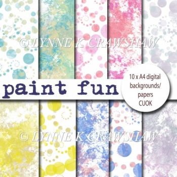 PAINT FUN - 10 digital (A4) backgrounds/papers DESIGNER RESOURCE