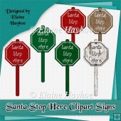 Santa Stop Here Clipart Signs