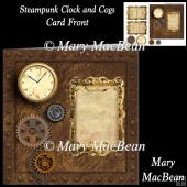 Steampunk Clock and Cogs Card Front