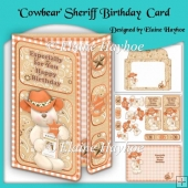 Cowbear Sheriff Birthday Off-Set Gatefold Card