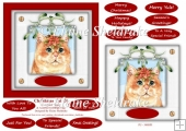 Christmas Cat (3) 6 x 6 Card Topper & Masses Of Greetings Tags