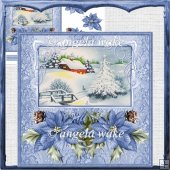 Blue poinsetti card with decoupage and sentiment tags