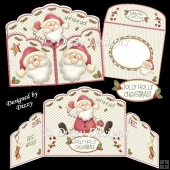 Jolly Holly Santa Gatefold Card