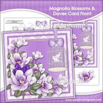 Magnolia Blossoms Doves Card Front