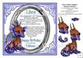 8 x 8 Libra Zodiac Birthday Gemstone Dragon Decoupage Topper