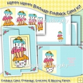Happy Happy Birthday Foldback Card, Envelope & Backing Paper