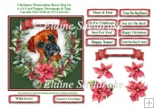 Christmas Poinsettias Watercolour Boxer (1) Puppy Dog