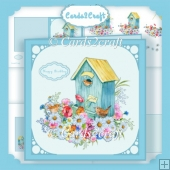 Square birdhouse and flowers card set
