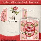 Scallloped Gatefold Card Red Rose