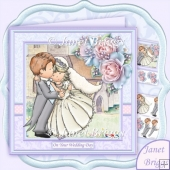 Wedding Day Bride & Groom Hugs 8x8 Mini Kit & Decoupage