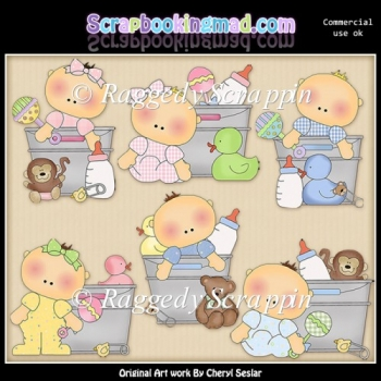 Baby Buckets ClipArt Graphic Collection