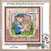 DIY Male Sawing Wood Square Card Front