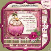 CHRISTMAS MOUSE & BAUBLE PLUM 7.8 Decoupage & Insert Kit