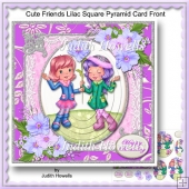 Cute Friends Lilac Square Pyramid Card Front