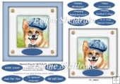 Spectacle Dogs In Blue Hats (5) - 6 x 6 Card Topper & Greetings