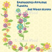 Embroidered Effect Appliqued Flowers Commercial Use