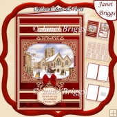 A5 RED & GOLD CHRISTMAS CHURCH Quick Layer Card Kit