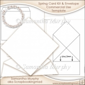 Spring Card Kit & Envelope Template Commercial Use