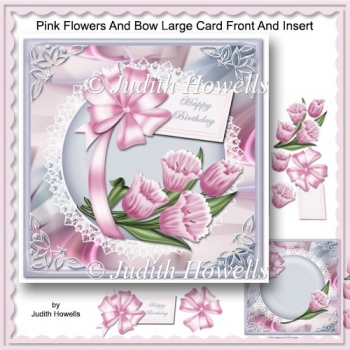Pink Flowers And Bow Large Card Front And Insert