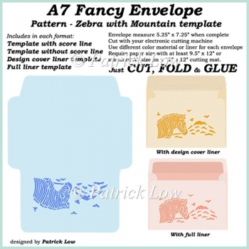 A7 Fancy Envelope - Pattern - Zebra with Mountain template