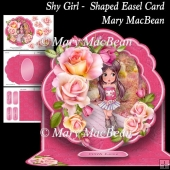 Shy Girl - Shaped Easel Card