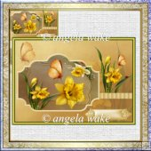 Easter daffodils card with decoupage