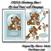 CRDS3 Christening Bear 1 A5 Card front with Decoupage