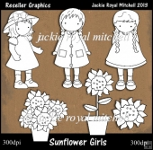 Sunflower Girls Colour Your Own Reseller Clipart
