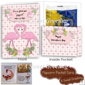 Valentine Flamingos Popcorn Pocket Card