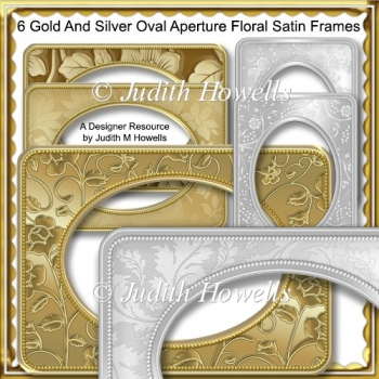 Gold And Silver Oval Aperture Floral Satin Frames CU