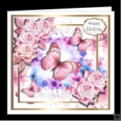 Pink Flowers and Butterflies Mini Kit