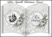 Silver Sparkle Open Book Christmas Card Insert