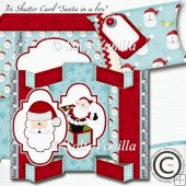 Tri Shutter Card Santa in a Box
