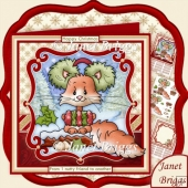 NUTTY CHRISTMAS SQUIRREL 8x8 Decoupage & Insert Mini Kit